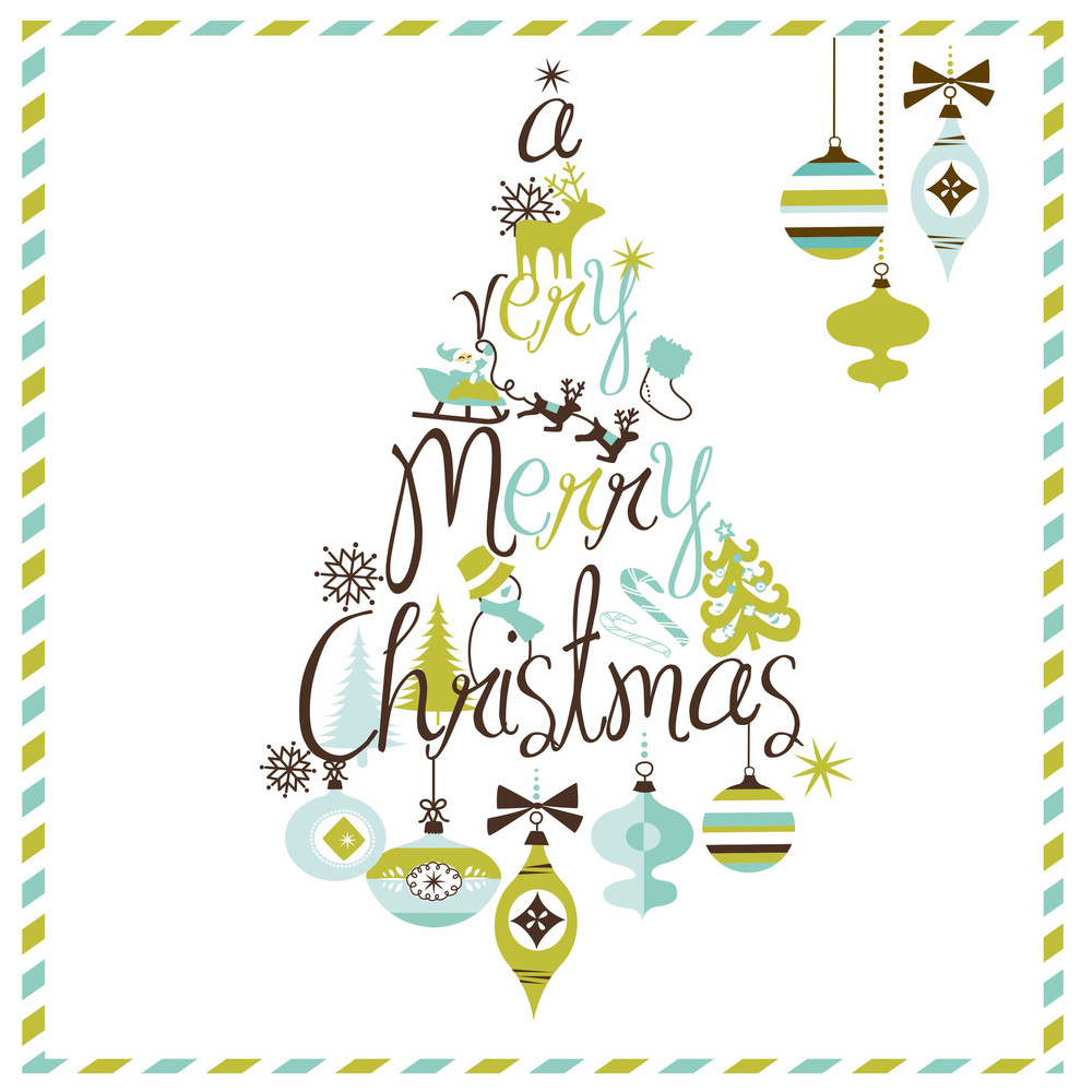 Very Merry Christmas.A Very Merry Christmas Tree Design Royalty Free Stock Image