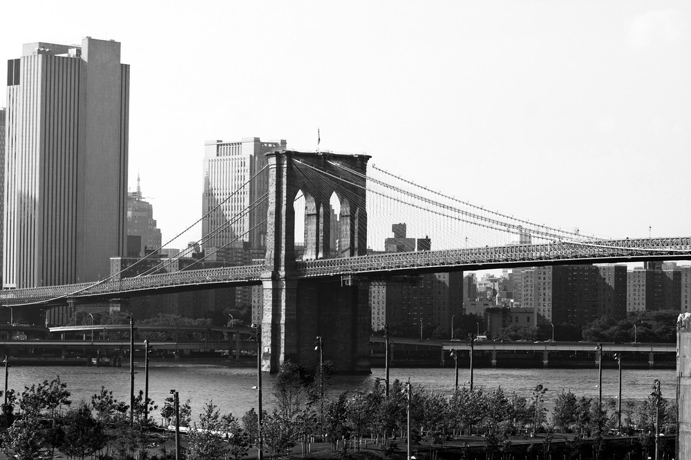 A view of the New York City skyline including the Brooklyn bridge and the Manhattan skyline.
