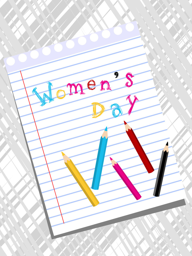 A Women's Day Text Write On The Page With Colorful Pencil.