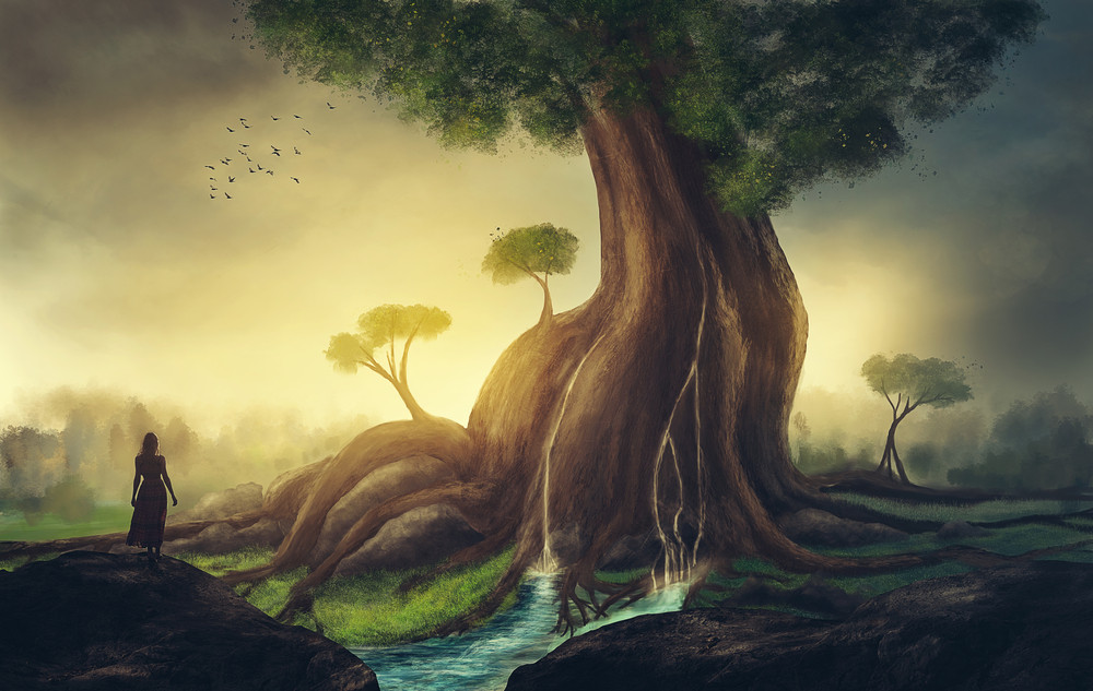 A young woman looks at a giant tree with waterfalls.