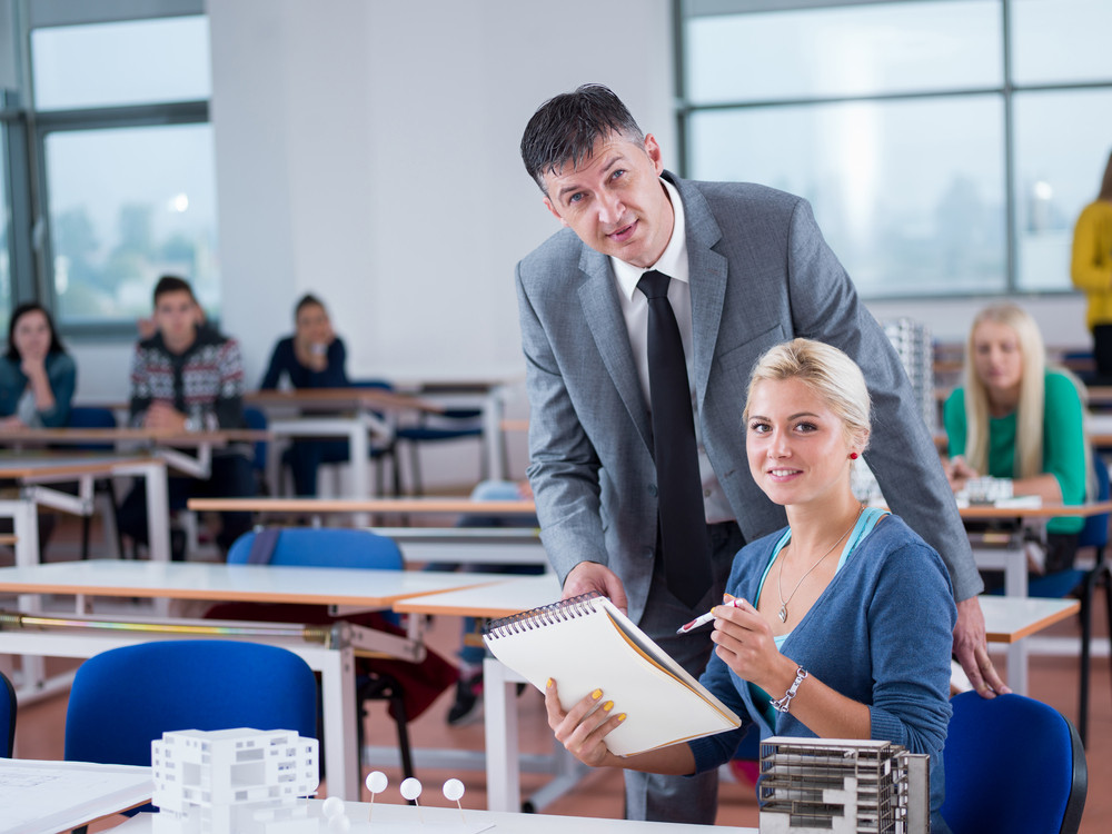 Student and teacher in classroom