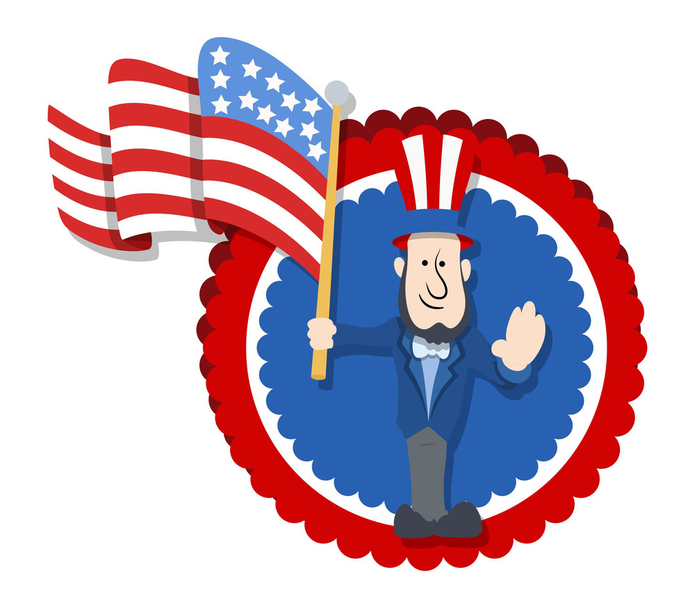 Abraham Lincoln Floating America's Flag Cartoon Vector Illustration