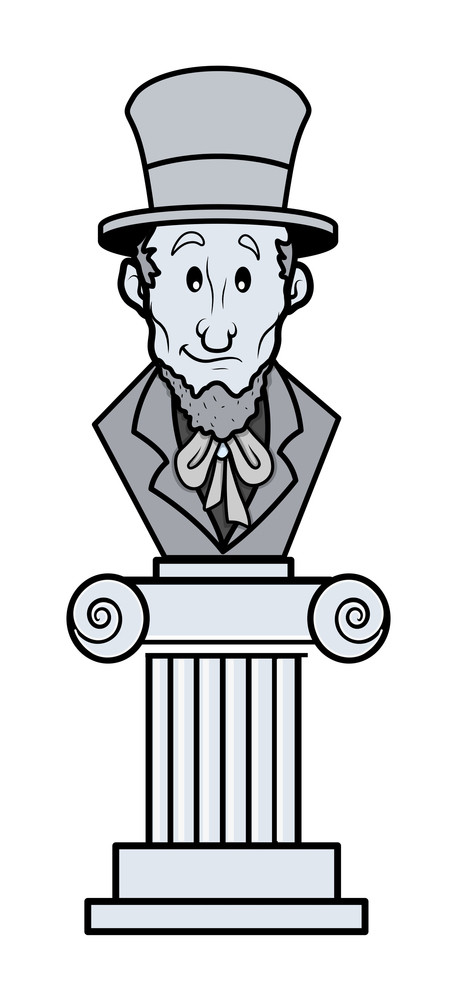 Abraham Lincoln Sculpture Cartoon Clip Art Vector Royalty Free Stock