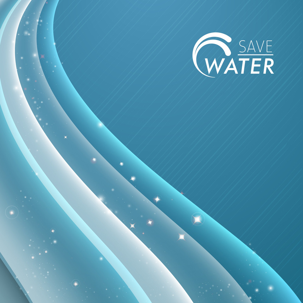 Abstact Background With Beautiful Water Waves And Sun Light With Save Water Text Can Be Used As Flyer