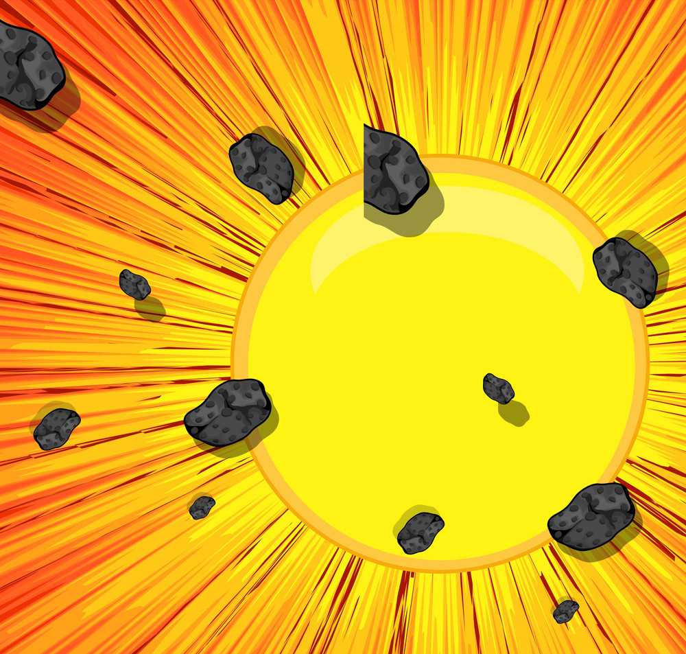Abstract Asteroids Sunburst Background