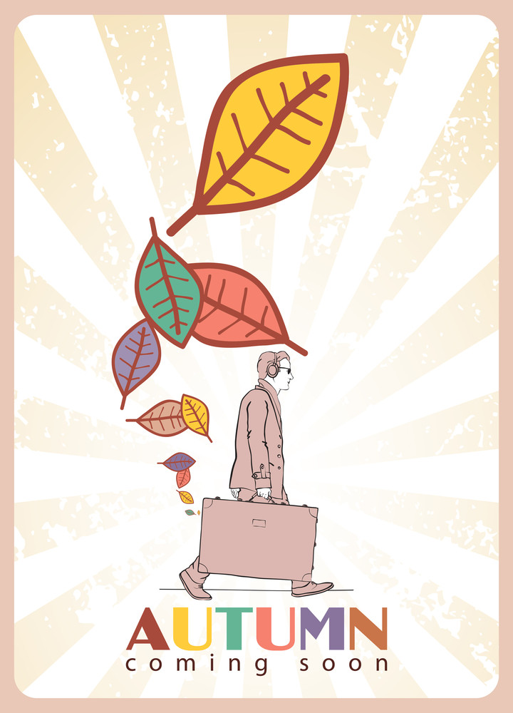 Abstract Autumnal Vector Illustration Of Men With Travel Bag And Leafs.