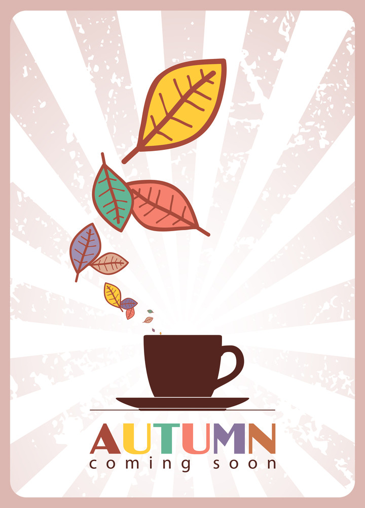 Abstract Autumnal Vector Illustration Tea Cup And Leafs.