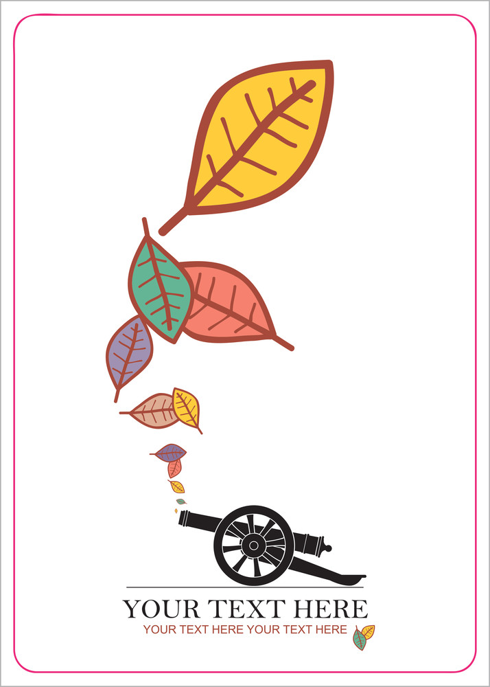 Abstract Autumnal Vector Illustration With Ancient Artillery Gun And Leafs.