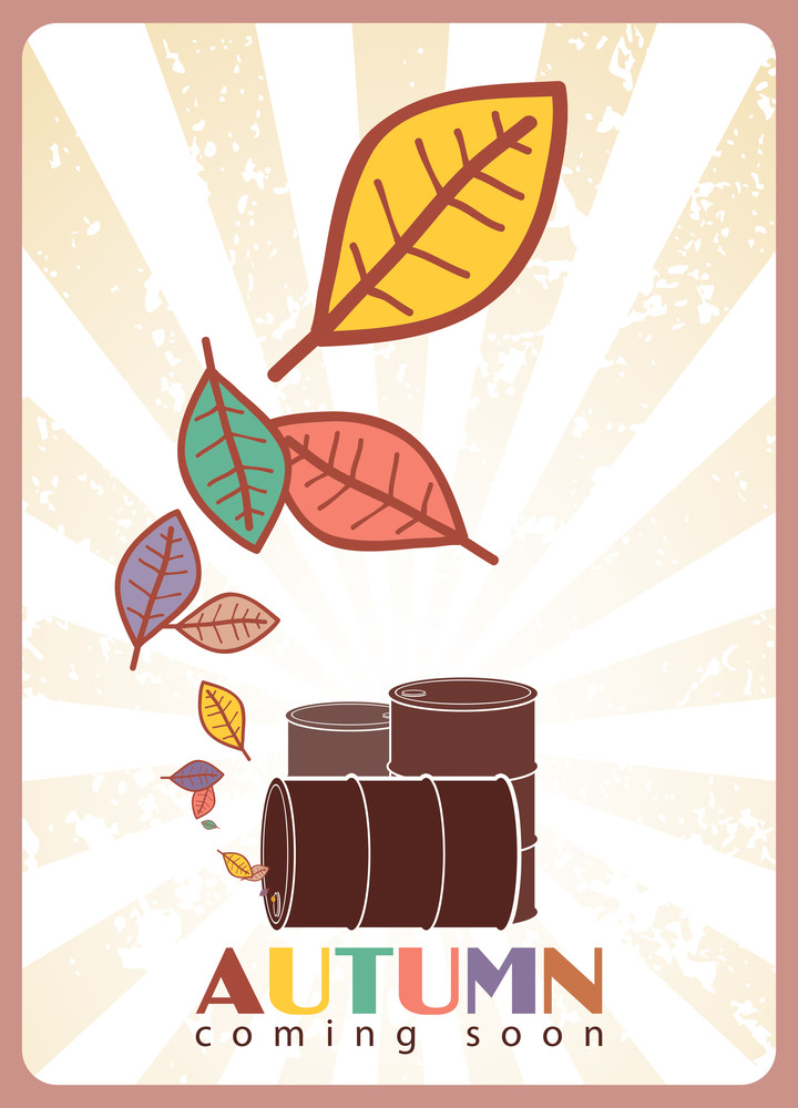 Abstract Autumnal Vector Illustration With Barrels And Leafs.