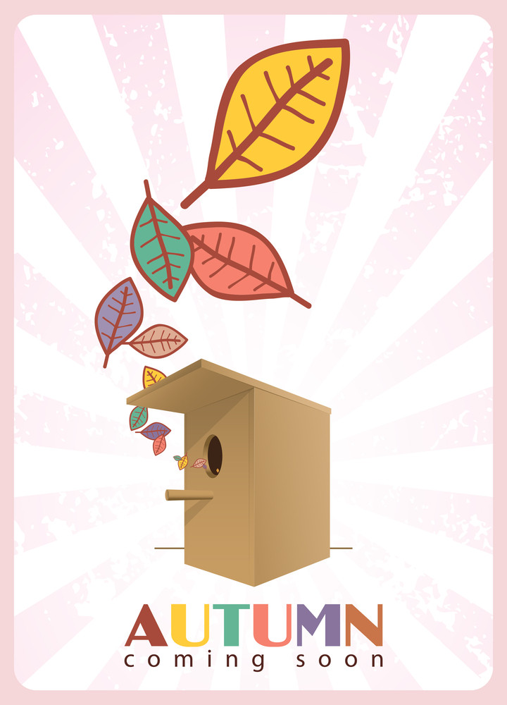 Abstract Autumnal Vector Illustration With Birdhouse  And Leafs.