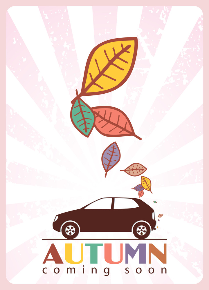 Abstract Autumnal Vector Illustration With Car And Leafs.