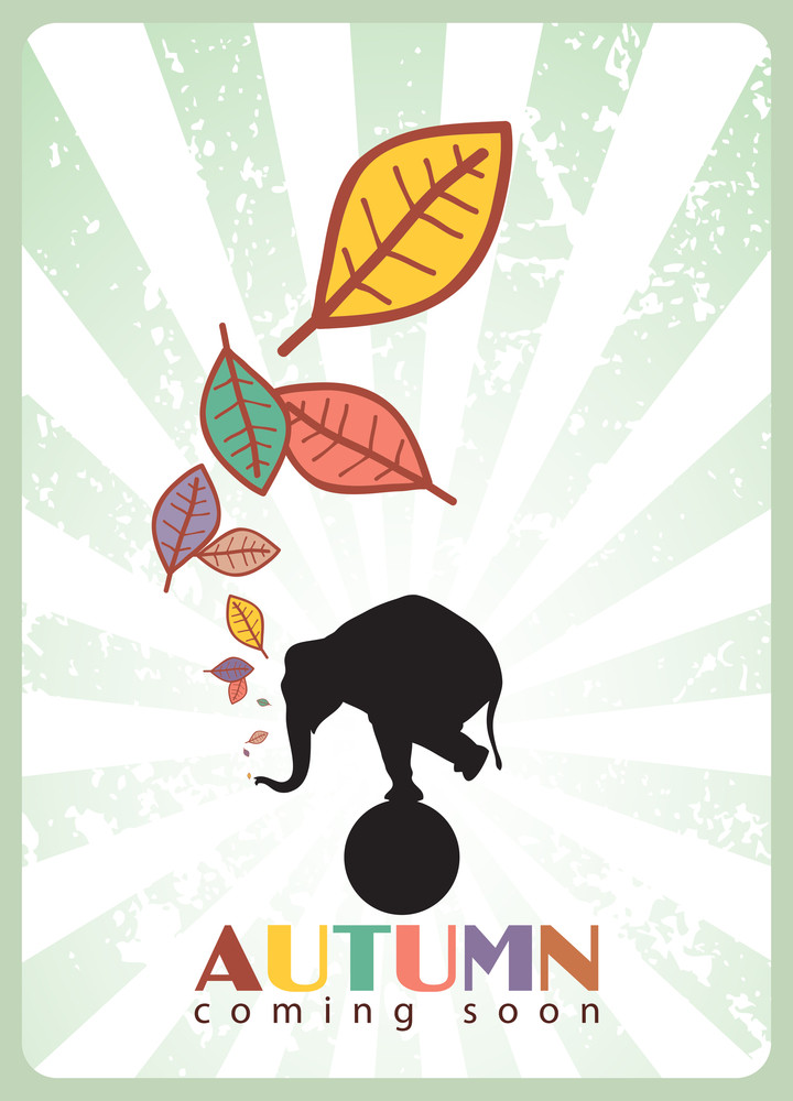 Abstract Autumnal Vector Illustration With Elephant And Leafs.