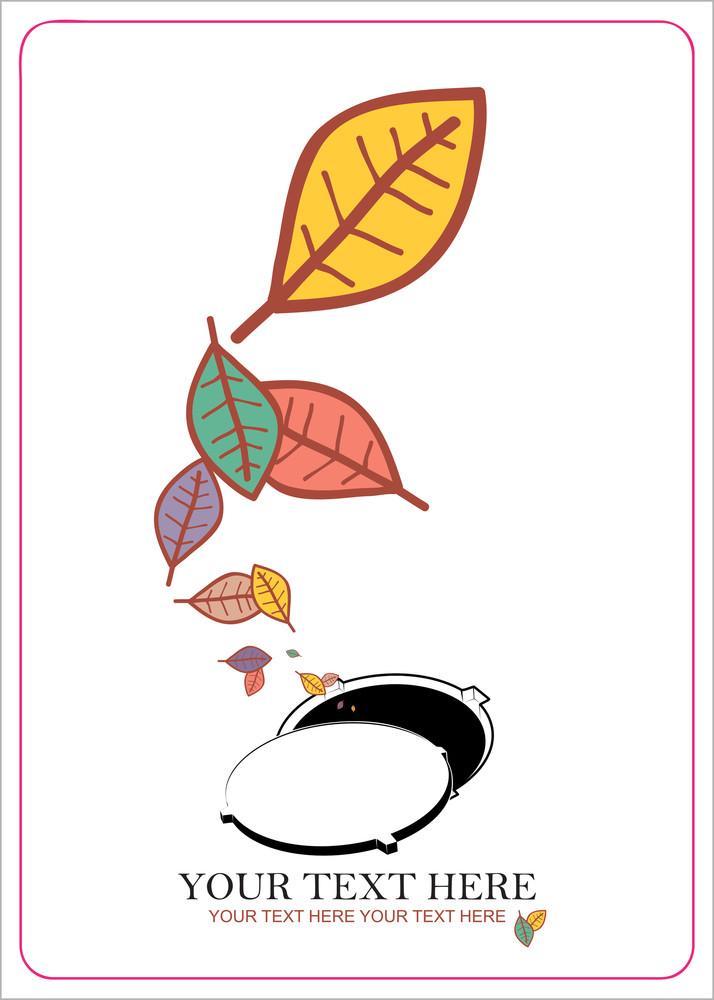 Abstract Autumnal Vector Illustration With Manhole  And Leafs.