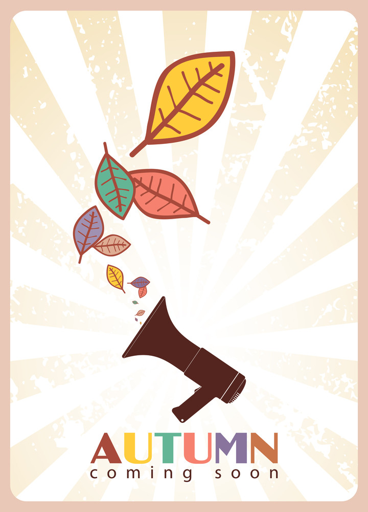 Abstract Autumnal Vector Illustration With Megaphone  And Leafs.