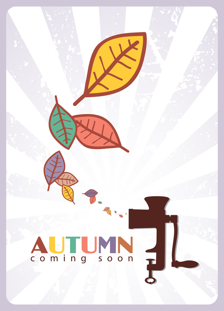 Abstract Autumnal Vector Illustration With Old Meat-grinder And Leafs.