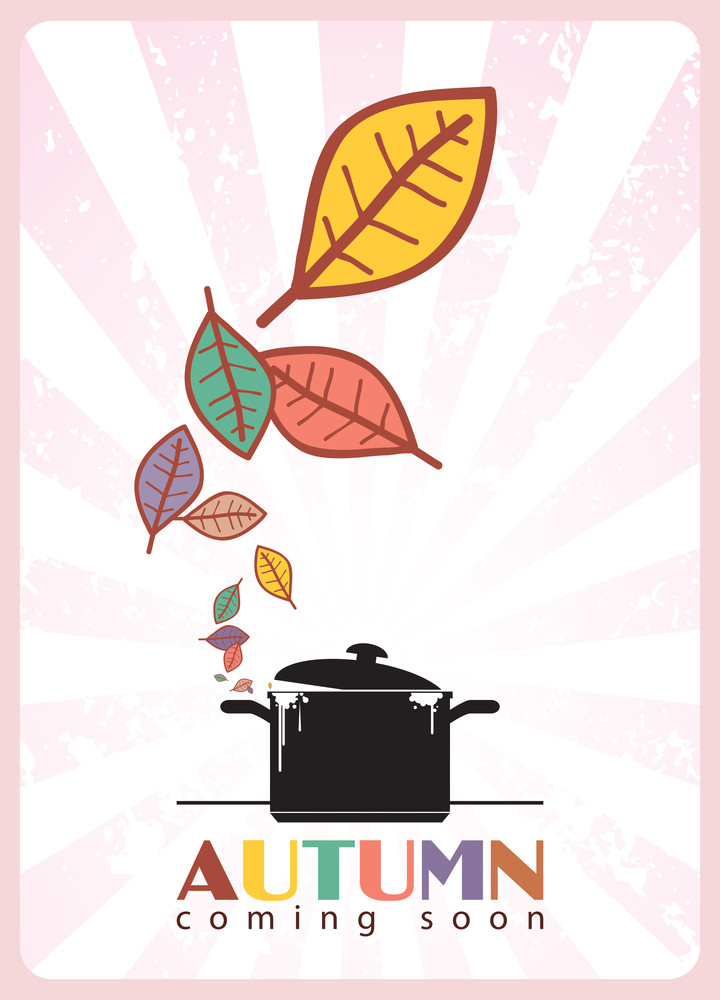 Abstract Autumnal Vector Illustration With Pan And Leafs.