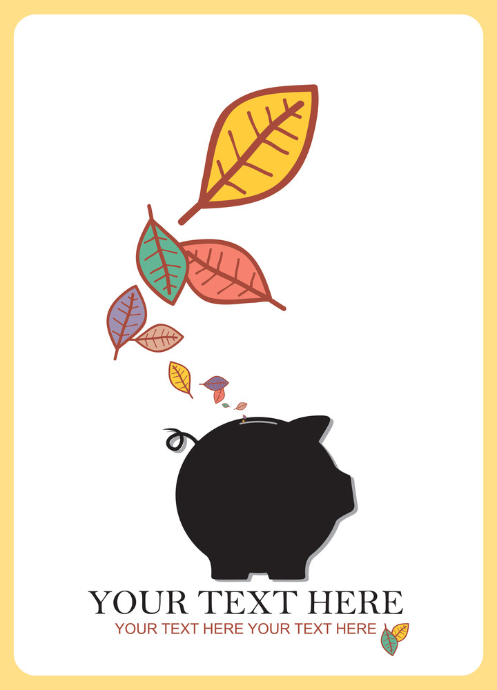 Abstract Autumnal Vector Illustration With Piggy Bank And Leafs.