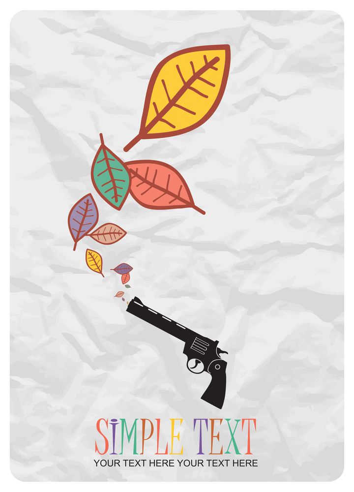 Abstract Autumnal Vector Illustration With Revolver And Leafs.