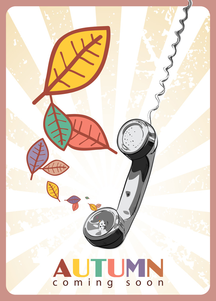 Abstract Autumnal Vector Illustration With Telefonny Tube And Leafs.