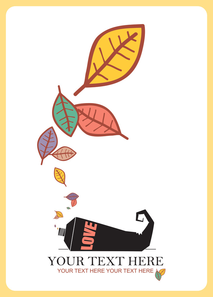 Abstract Autumnal Vector Illustration With Tube And Leafs.
