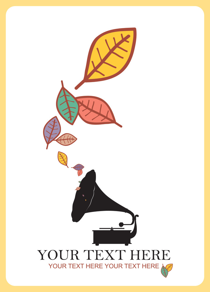 Abstract Autumnal Vector Illustration With Vintage Gramophone And Leafs.