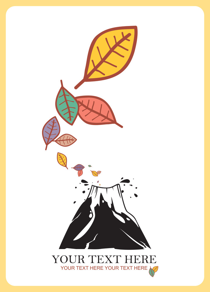Abstract Autumnal Vector Illustration With Volkano And Leafs.
