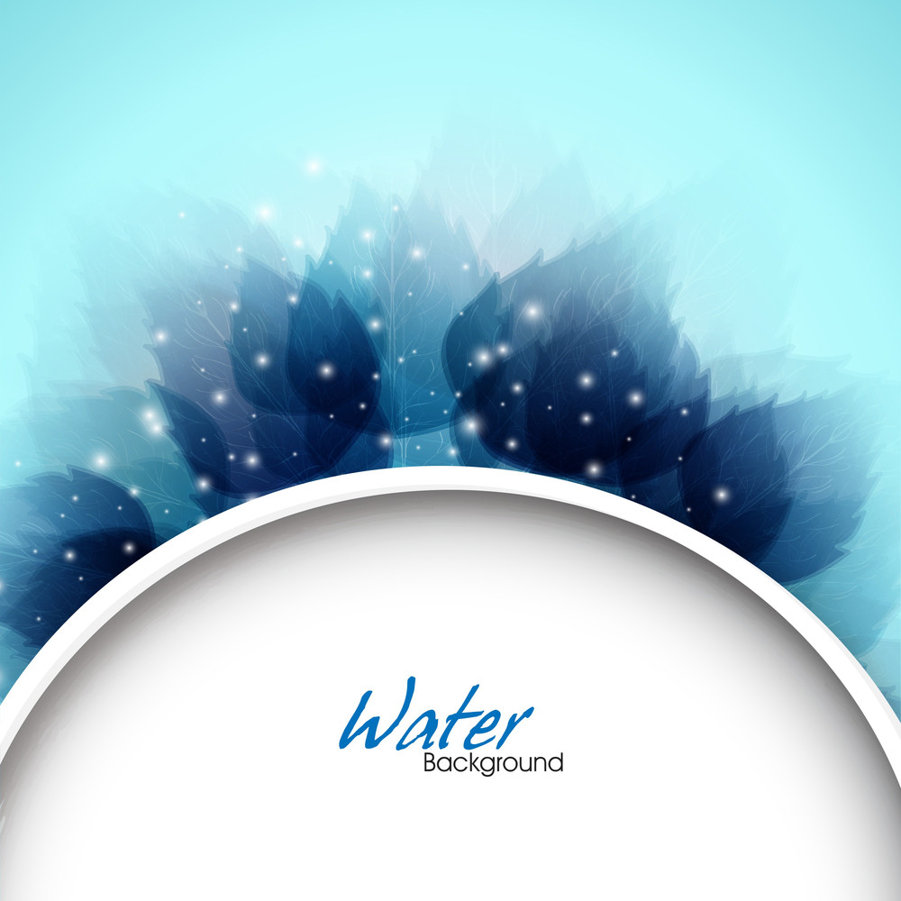 Abstract Background With Blue Leaves Pattern Can Be Used As Flyer