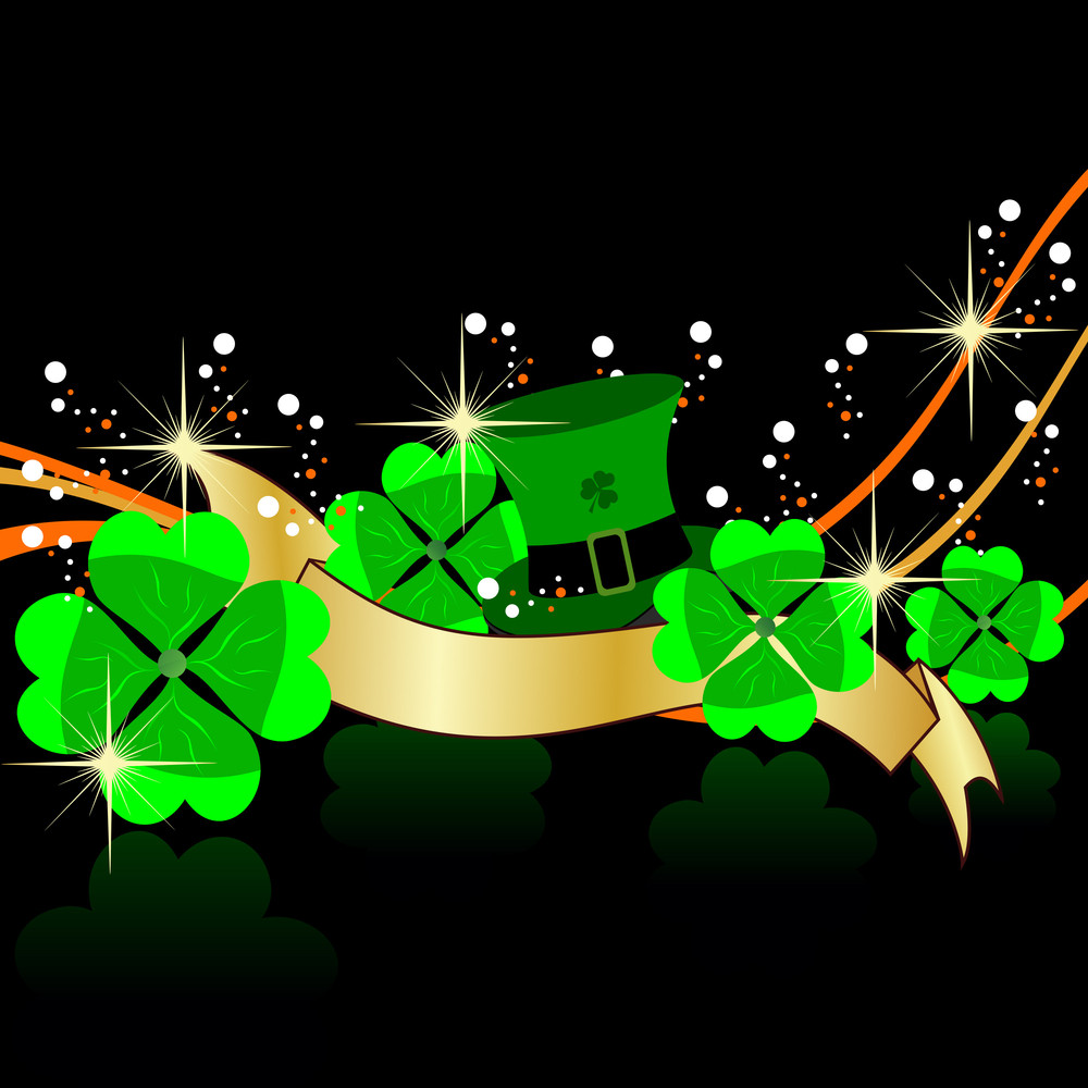 Abstract Background With Shamrocks Leaf And Hat. Vector.