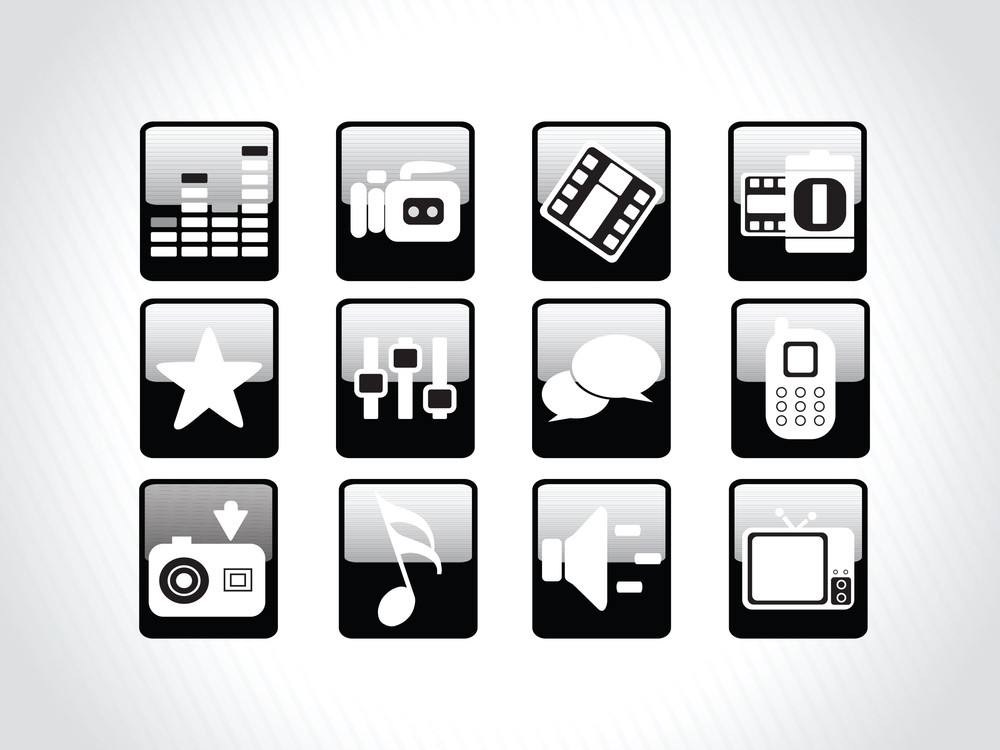 Abstract Beautiful Web Glassy Icons Set