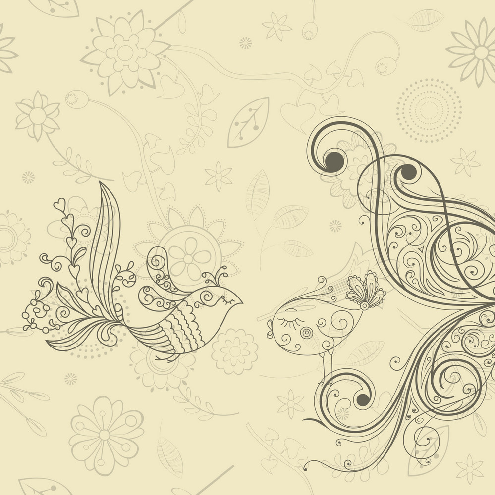 Abstract Birds Vector Illustration