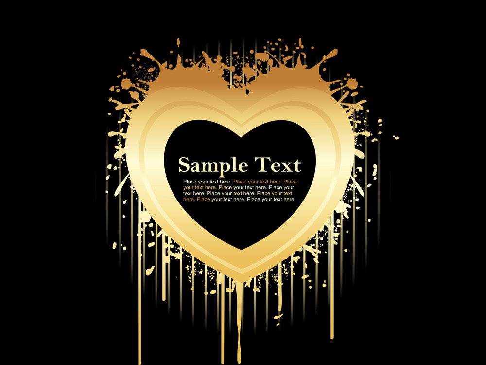 Abstract Black Backdrop With Golden Text