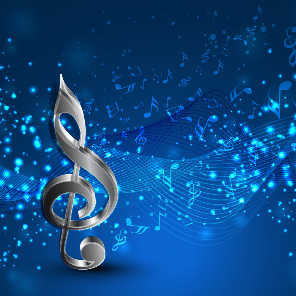 abstract blue background with wave and musical notes