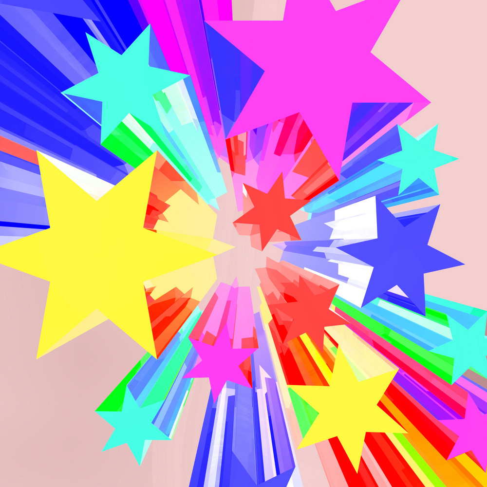 Abstract Bursting Stars Background As Colorful Vibrant Backdrop