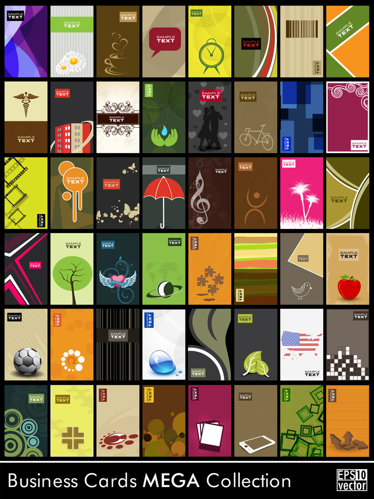 Abstract Business Cards In Different Style And Pattern.
