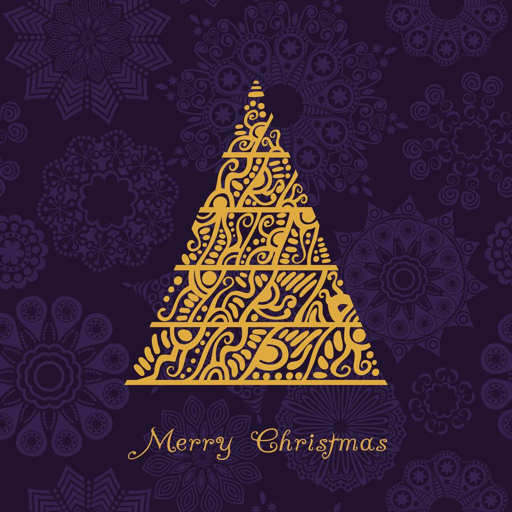Abstract Christmas Tree Card