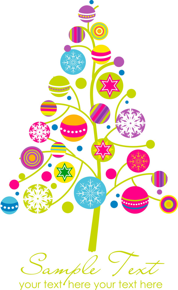 Abstract Christmas Tree With Cute And Colorful Design Elements-