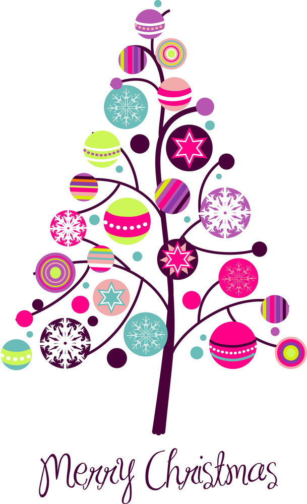 Abstract Christmas Tree With Cute And Colorful Design Elements