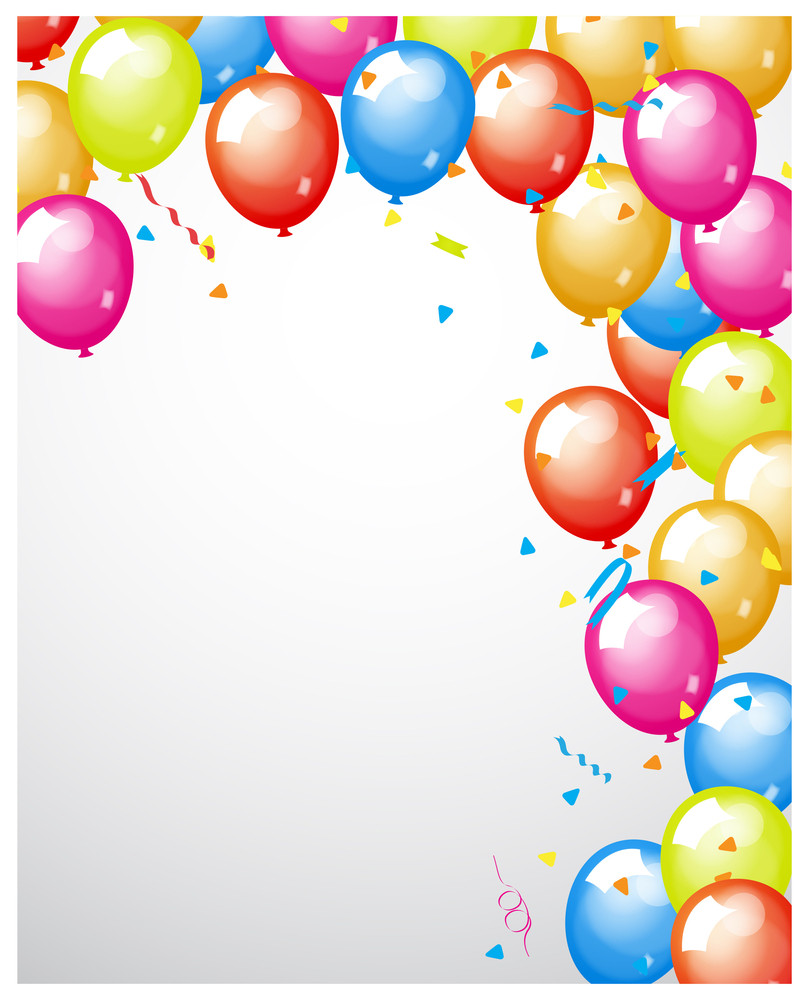 Abstract Colored Balloons Border
