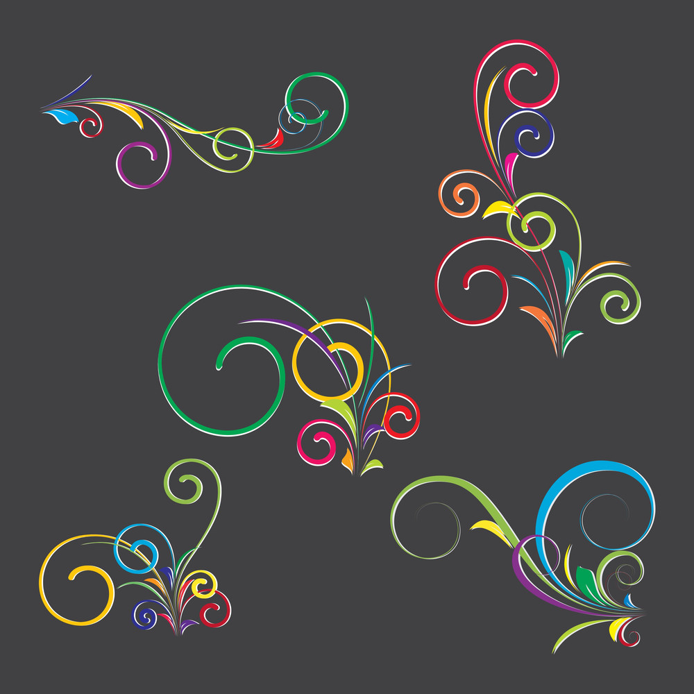 Abstract Colored Flourish Designs