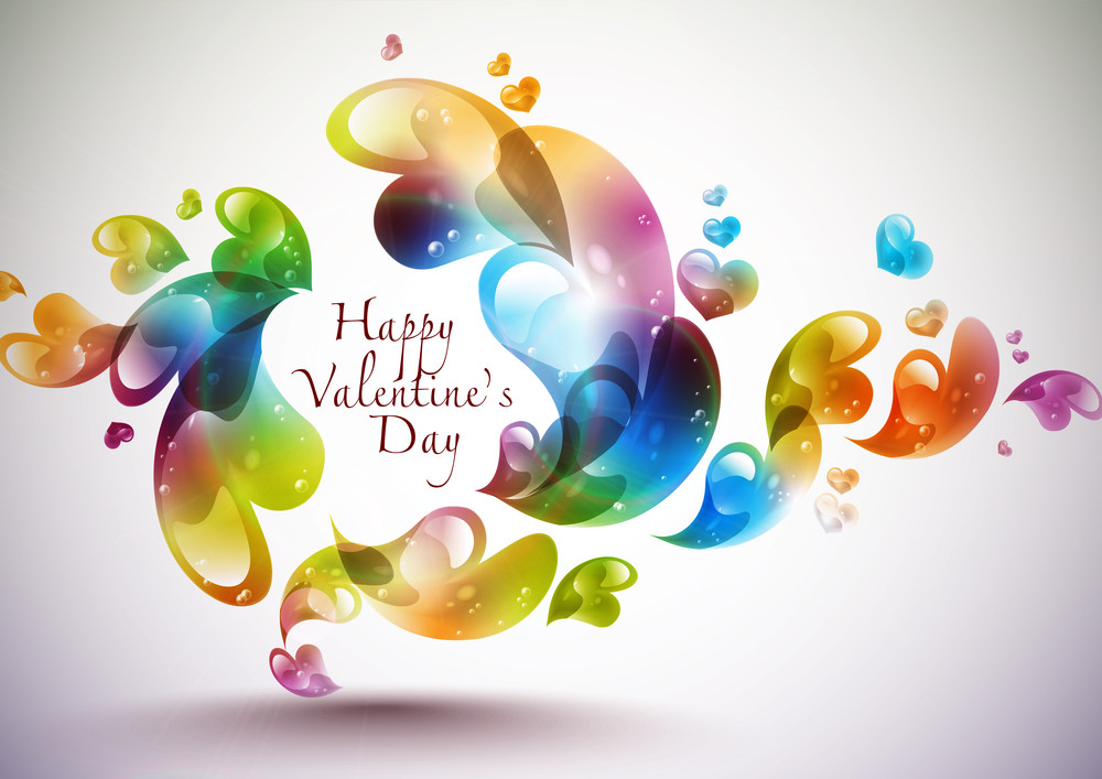 Abstract Colored Vector Valentine's Day Card Element