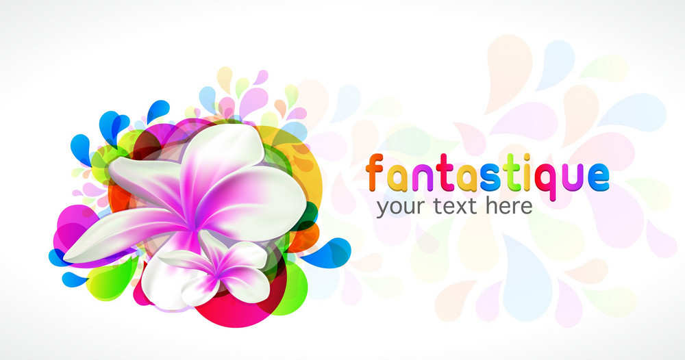 Abstract Colorful Background With Plumeria Vector Illustration