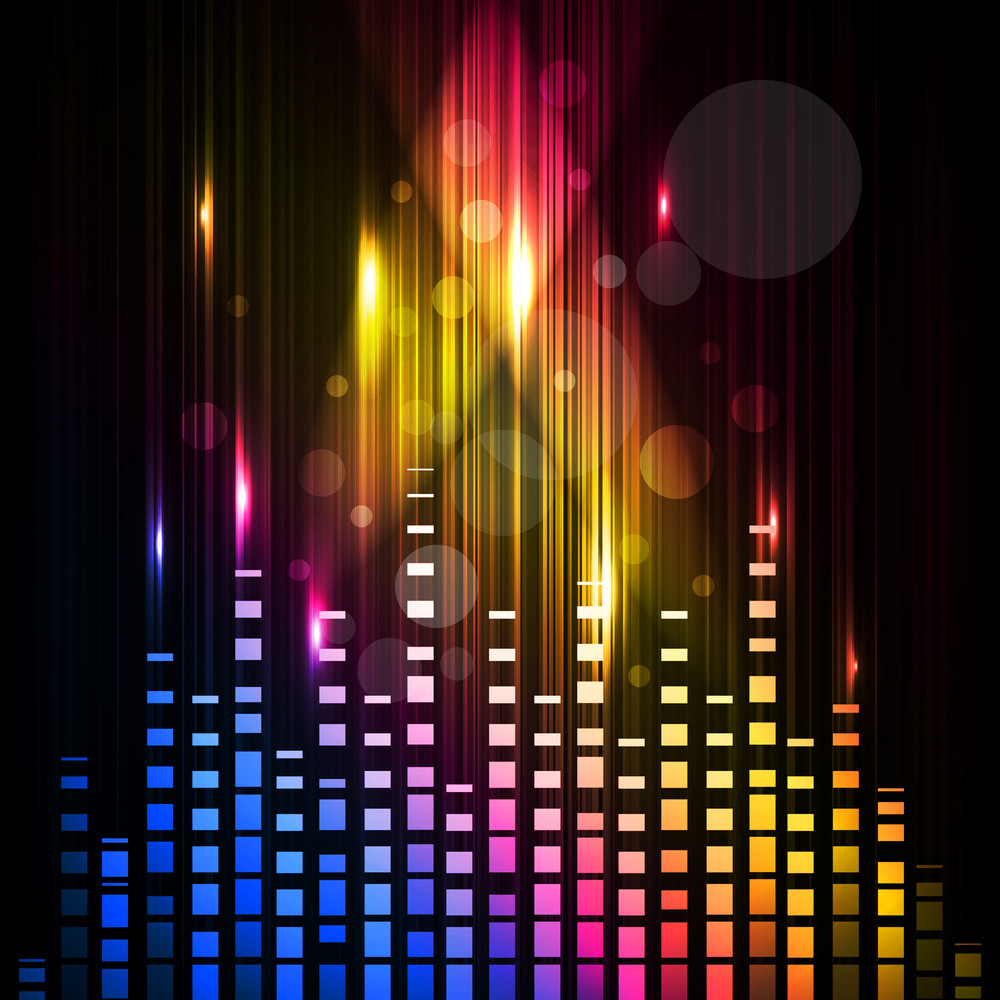 Abstract Colorful Background With Waves Of Music. Vector.