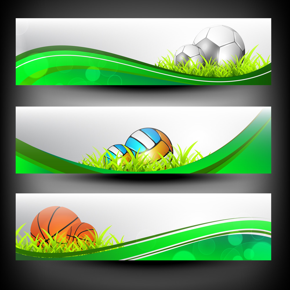 Abstract Colorful Sport Banners Set.