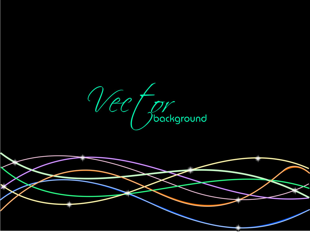 Abstract Colorful Wave Background Isolated On Black And Copy Space.
