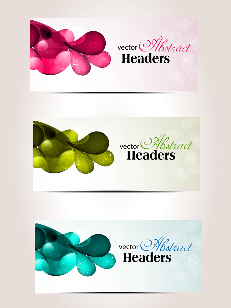 Abstract Colorfull Headers Set Of Three.