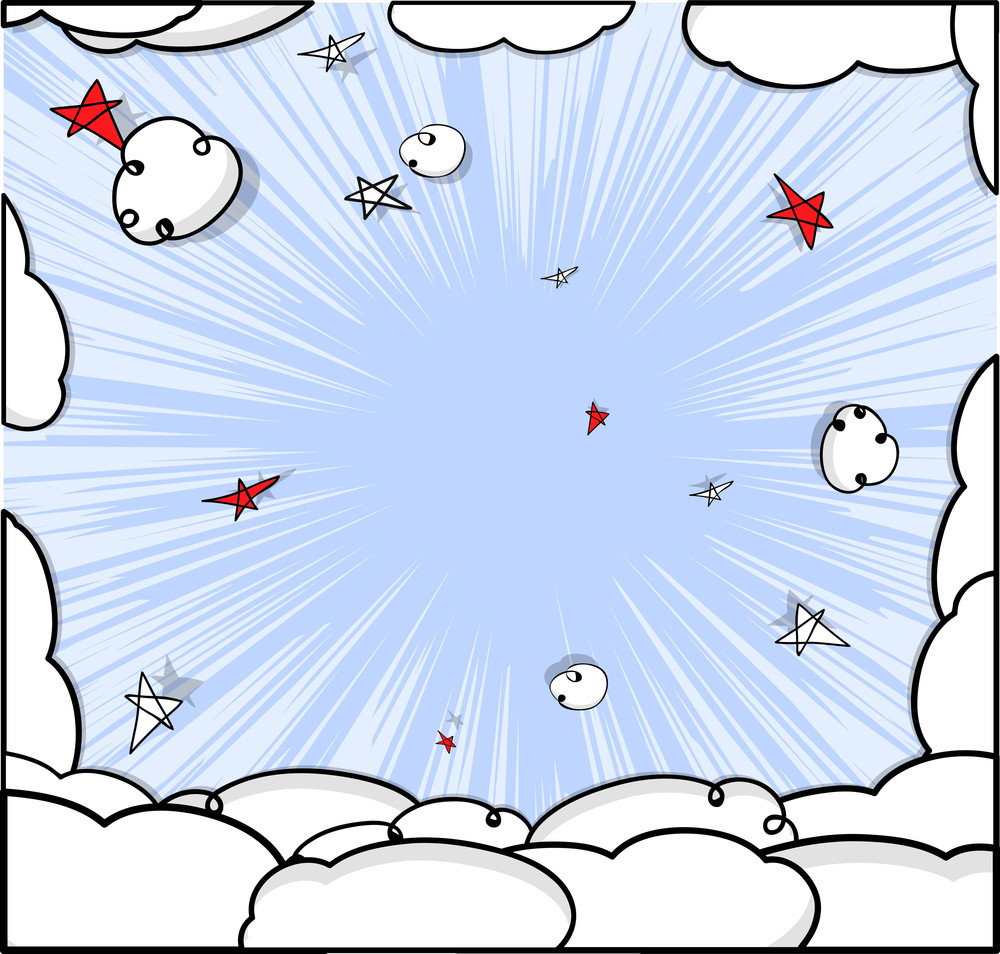 Abstract Comic Clouds Vector Background