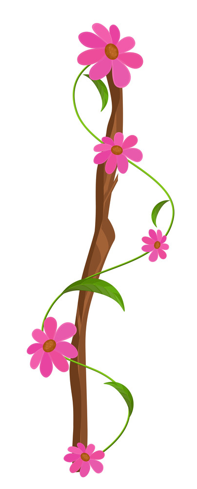 Abstract Comic Flowers Branch Vector