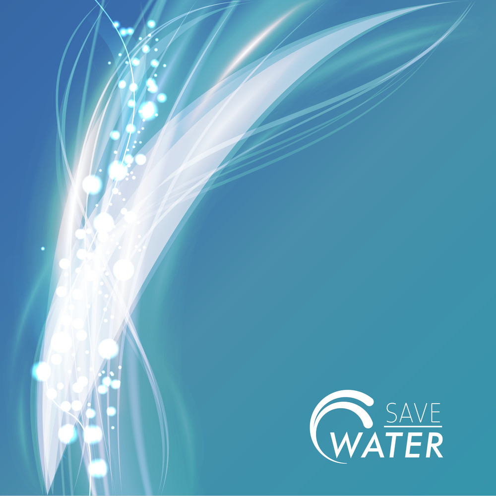 Abstract Composition With Water Splash And Text Save Water