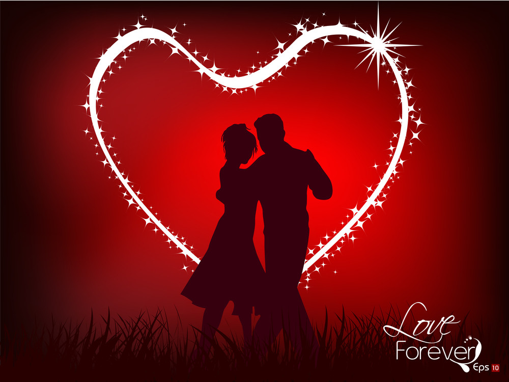 Abstract Dancing Couple With Red Background.