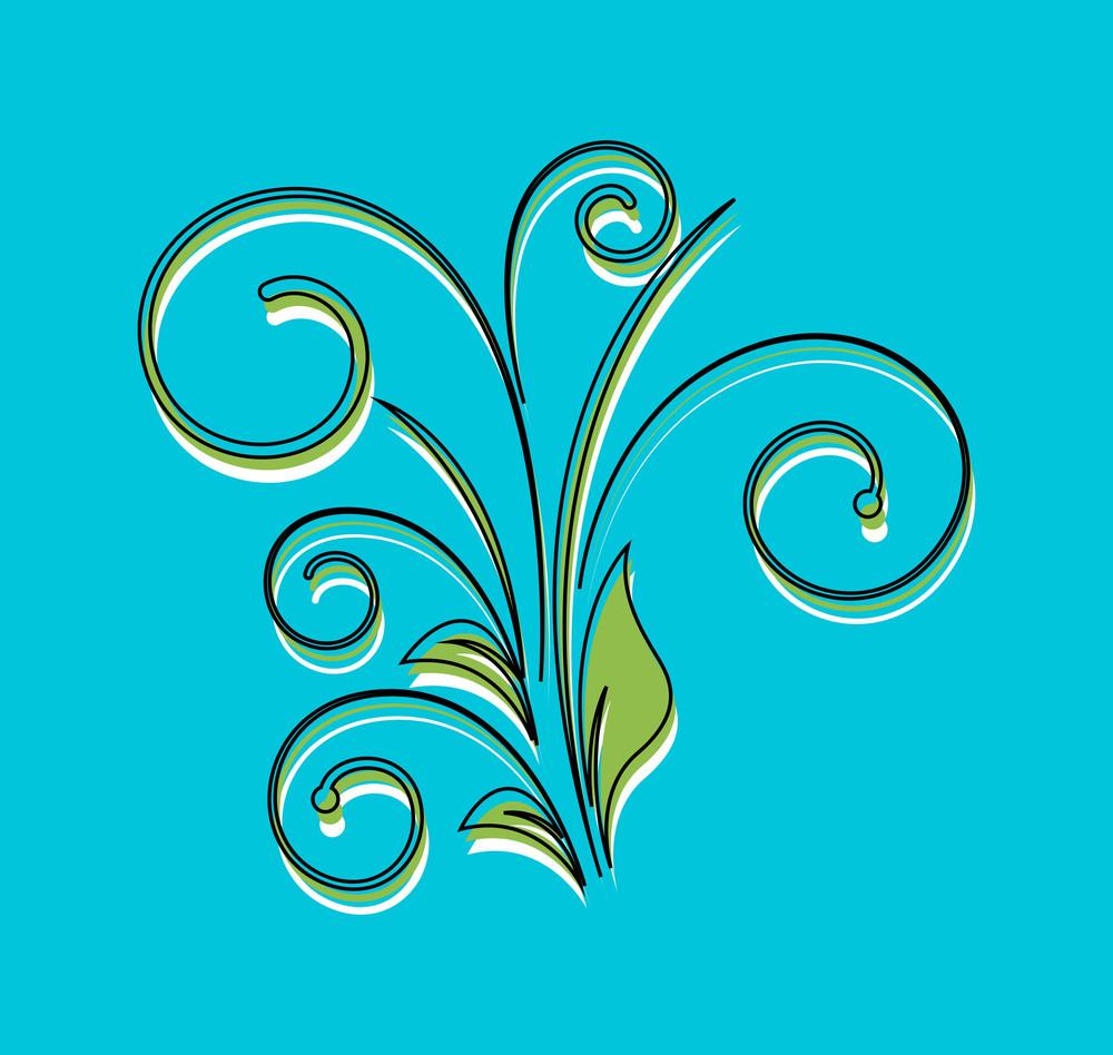 Abstract Decorative Retro Floral